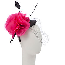 Buy John Lewis Kim Pillbox Hat Fascinator with Net, Black/Pink Online at johnlewis.com