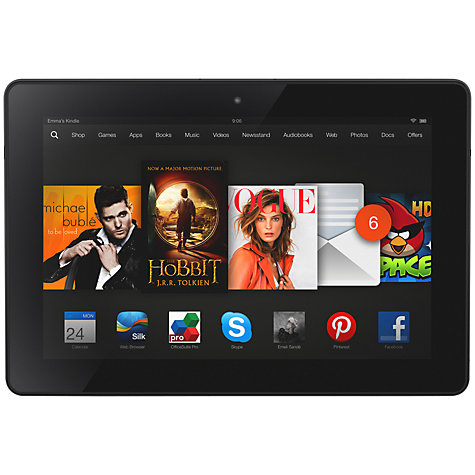 "Buy Amazon Kindle Fire HDX 8.9 Tablet, Qualcomm Snapdragon, Fire OS, 8.9"", Wi-Fi & 4G LTE, 32GB, Black Online at johnlewis.com"
