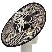 Buy John Lewis Lara Large Weave Disc Hat Fascinator, Black/Cream Online at johnlewis.com