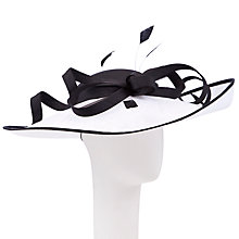 Buy John Lewis Demi Sinamay Shantung Disc Occasion Hat, Black/White Online at johnlewis.com