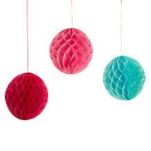 Buy John Lewis Honeycomb Decorations, Pack Of 3 Online at johnlewis.com