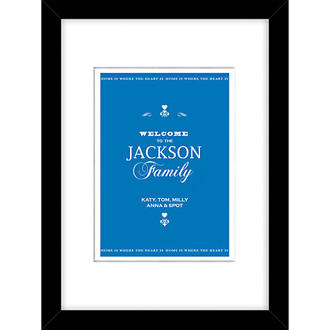 Buy Loveday Designs Personalised Welcome to the Family Framed Print, 40 x 30cm Online at johnlewis.com
