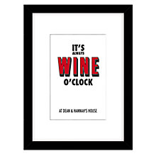 Buy Loveday Designs Personalised Wine O'Clock Framed Print, 40 x 30cm, Red Online at johnlewis.com