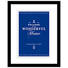 Buy Loveday Designs Welcome To Our Wonderful Home Framed Print, 50 x 40cm, Purple Online at johnlewis.com