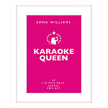 Buy Loveday Designs Personalised Karaoke Queen Framed Print, 50 x 40cm Online at johnlewis.com