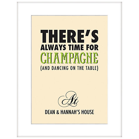 Buy Loveday Designs Personalised There's Always Time For Champagne Framed Print, 50 x 40cm Online at johnlewis.com