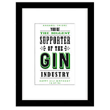 Buy Loveday Designs Personalised Support the Gin Industry Framed Print, 40 x 30cm Online at johnlewis.com
