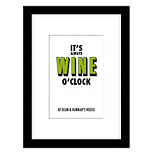 Buy Loveday Designs Personalised Wine O'Clock Framed Print, 40 x 30cm, Green Online at johnlewis.com