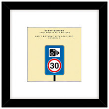 Buy Loveday Designs Personalised Speed Camera Framed Print, 30 x 30cm Online at johnlewis.com