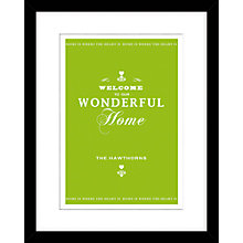 Buy Loveday Designs Personalised Welcome To Our Wonderful Home Framed Print, 50 x 40cm, Green Online at johnlewis.com
