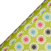 Buy John Lewis Lime Daisy Block Wrapping Paper, L3m Online at johnlewis.com