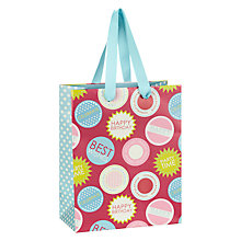 Buy John Lewis Birthday Badge Gift Bag, Small, Pink Online at johnlewis.com