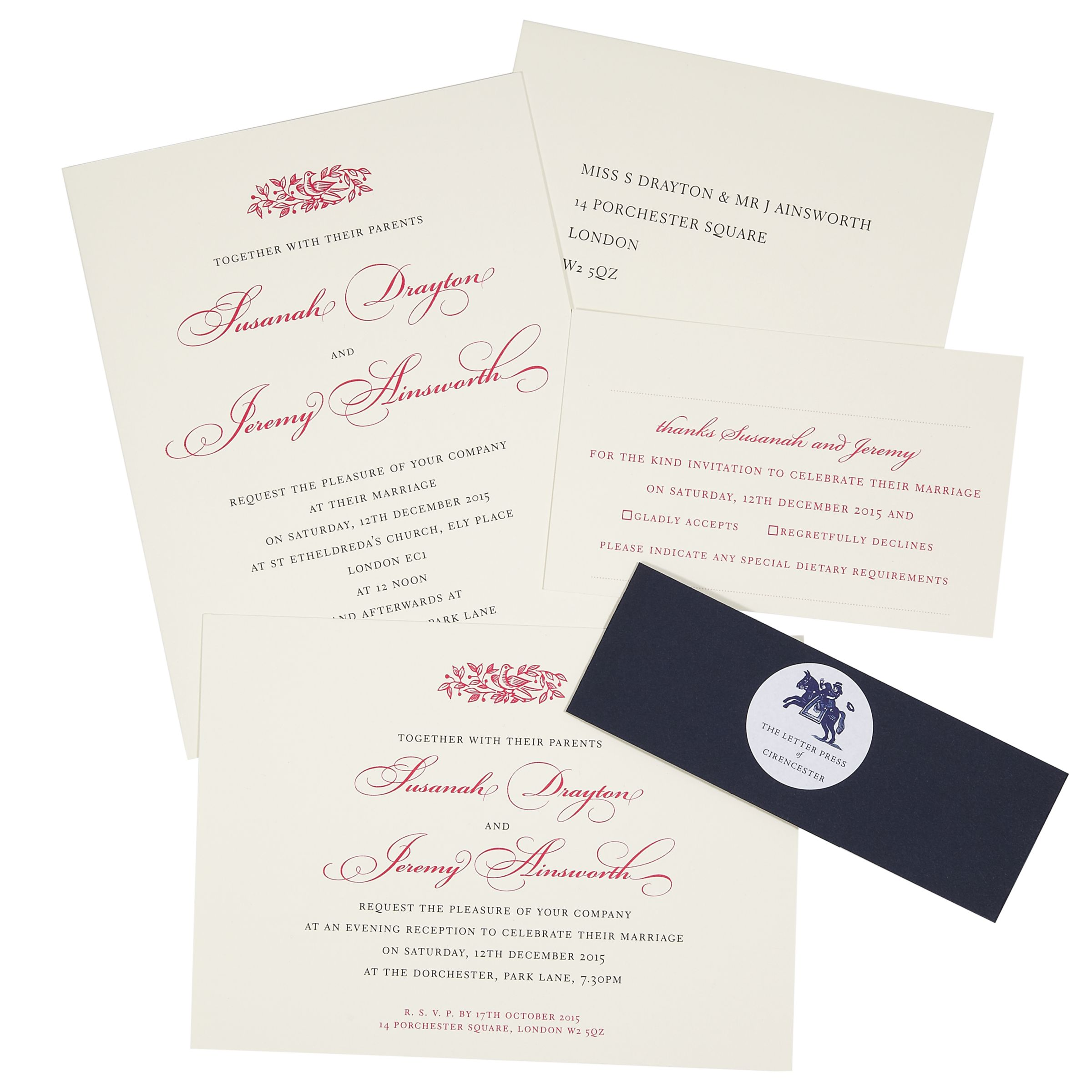 Wedding Gift List Wording John Lewis : Buy The Letter Press Electra Wedding Invitation Collection Online at ...