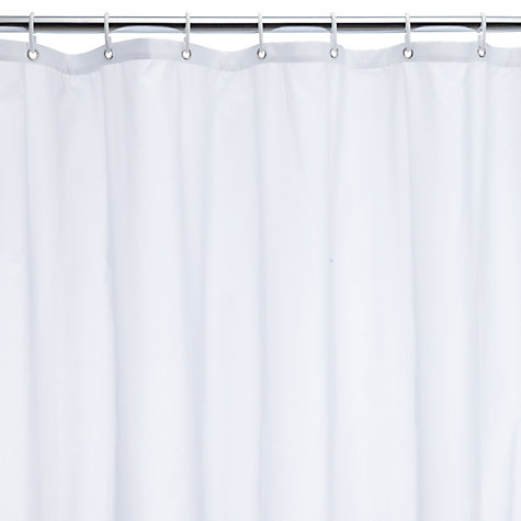 buy john lewis the basics polyester shower curtain white john lewis. Black Bedroom Furniture Sets. Home Design Ideas