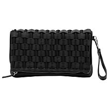 Buy Reiss Arlo Weave Fold Over Clutch Bag, Black Online at johnlewis.com