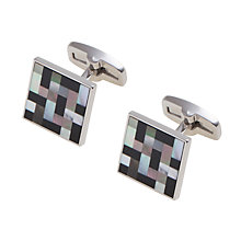 Buy Duchamp Onyx & Mother of Pearl Weave Cufflinks, Black Online at johnlewis.com