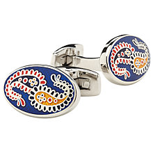 Buy Duchamp Paisley Vine Cufflinks, Blue Online at johnlewis.com