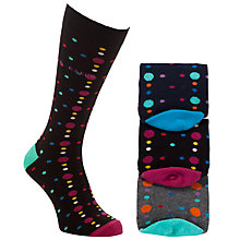 Buy Ted Baker Jamy Spotted Socks, Pack of 3, One Size, Multi Online at johnlewis.com