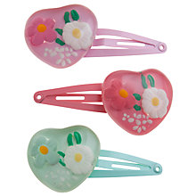 Buy John Lewis Girl Heart Click Clack Clips, Pack of 3, Multi Online at johnlewis.com