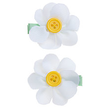 Buy John Lewis Girl Fabric Daisy Clips, Pack of 2, White Online at johnlewis.com