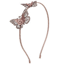 Buy John Lewis Girl Double Glitter Butterfly Alice Band, Pink Online at johnlewis.com