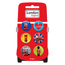 Buy London Print Button Badges, Multi Online at johnlewis.com