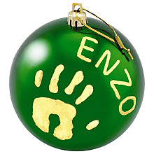 Buy Baby Art Christmas Bauble, Green Online at johnlewis.com
