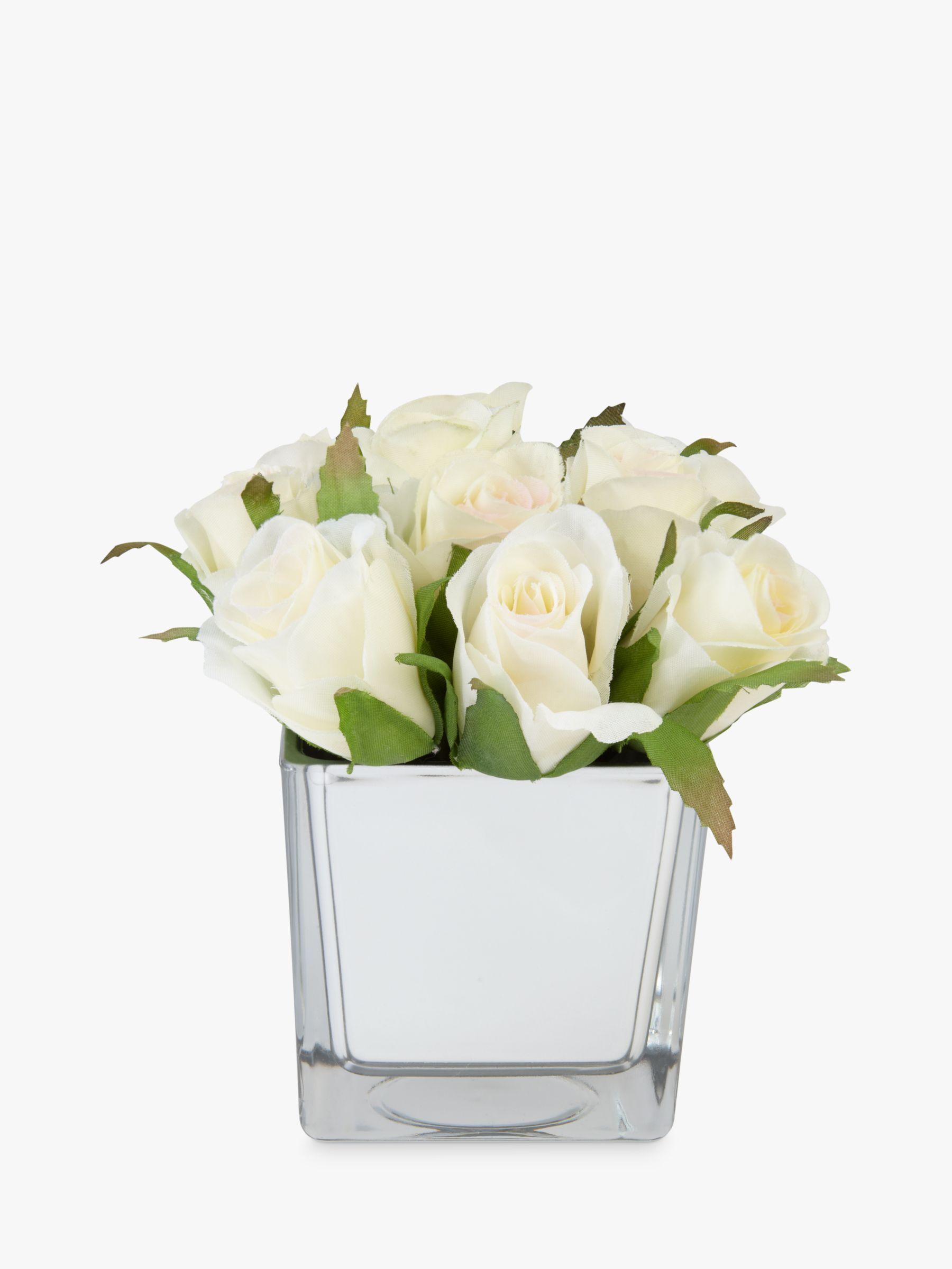 Peony Peony Roses In Glass Cube, White, Small