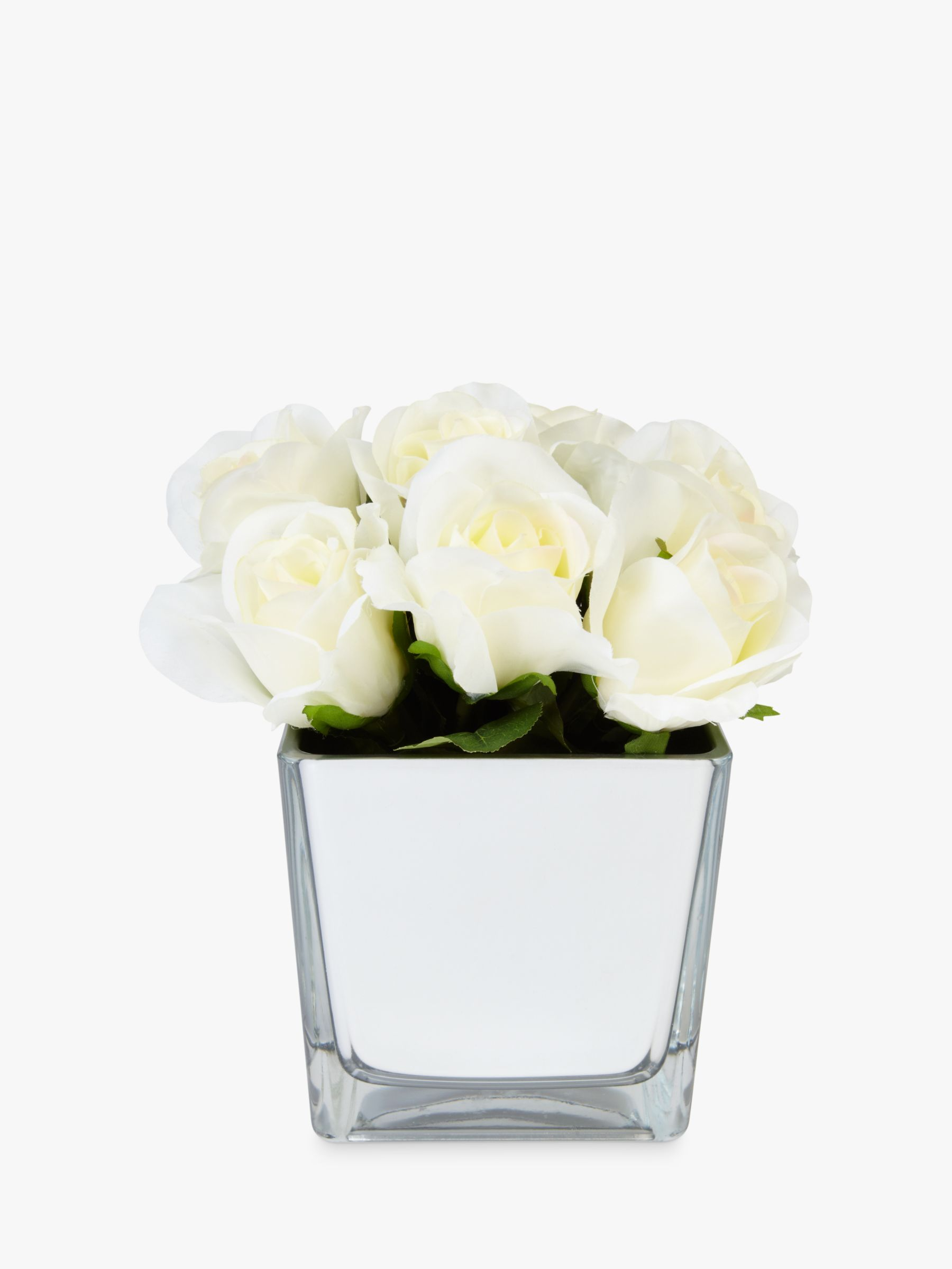Peony Peony Roses In Glass Cube, White
