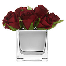 Buy Peony Rose In Mirror Cube, Red, Small Online at johnlewis.com