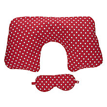 Buy Cath Kidston Spotted Print Travel Pillow Set, Cranberry Online at johnlewis.com