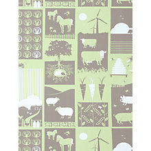 "Buy Mini Moderns ""Moo"" Wallpaper, Pear Green Online at johnlewis.com"