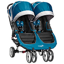 Buy Baby Jogger City Mini Twin Pushchair, Teal/Grey Online at johnlewis.com