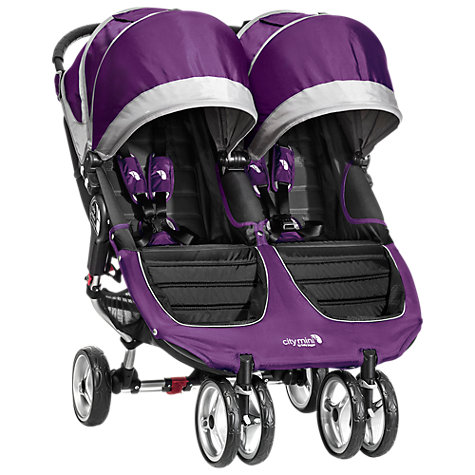 Buy Baby Jogger City Mini Twin Pushchair, Purple/Grey Online at johnlewis.com