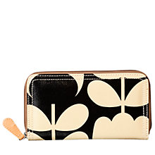 Buy Orla Kiely Tulip Stem Big Zip Wallet, Black/Cream Online at johnlewis.com