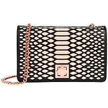 Buy Ted Baker Whirret Metallic Clutch, Black Online at johnlewis.com