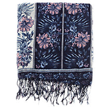 Buy Warehouse Vintage Border Floral Print Scarf, Light Blue Online at johnlewis.com