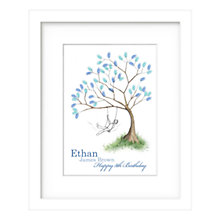 Buy Lillypea Personalised Boy Fingerprint Tree Swing Framed Print, 43 x 33cm, Green Tea/ Sage Online at johnlewis.com
