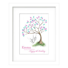 Buy Lillypea Personalised Girl Fingerprint Tree Swing Framed Print, 43 x 33cm, Green Tea/ Sage Online at johnlewis.com