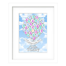 Buy Lillypea Personalised Balloons Fingerprint Framed Print, 43 x 33cm, Green Tea/ Sage Online at johnlewis.com