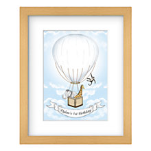 Buy Lillypea Personalised Animals' Journey Fingerprint Framed Print, 43 x 33cm, Green Tea/ Sage Online at johnlewis.com