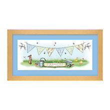 Buy Lillypea Personalised Garden Bunting Framed Print, Blue, 23.2 x 34.5cm Online at johnlewis.com