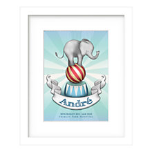 Buy Lillypea Personalised Elephant Framed Print, Blue, 43 x 33cm Online at johnlewis.com