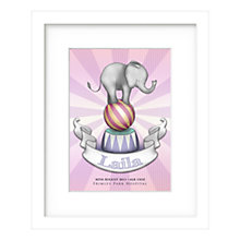 Buy Lillypea Personalised Elephant Framed Print, Pink, 43 x 33cm Online at johnlewis.com