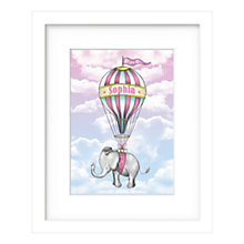 Buy Lillypea Personalised Elephant's Journey Framed Print, Pink, 43 x 33cm Online at johnlewis.com