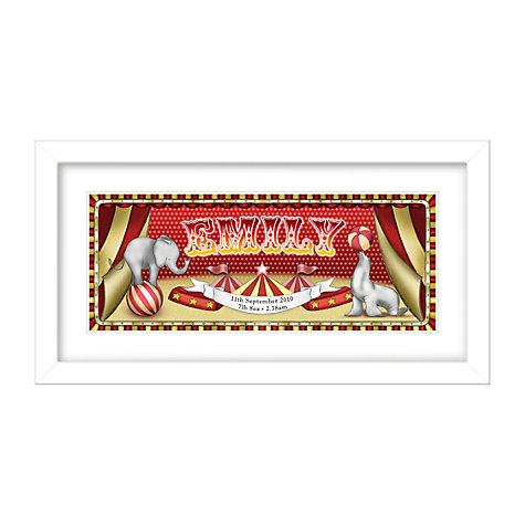 Buy Lillypea Personalised Circus Framed Print, 23.2 x 34.5cm Online at johnlewis.com