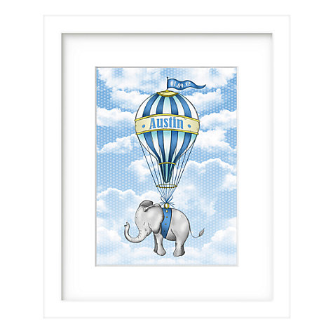 Buy Lillypea Personalised Elephant's Journey Framed Print, Blue, 43 x 33cm Online at johnlewis.com