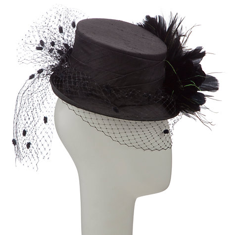 Buy Walter Wright Silk Feather Topper Hat with Net, Black Online at johnlewis.com