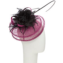 Buy John Lewis Jess Double Sweep Disc Fascinator, Purple/Black Online at johnlewis.com