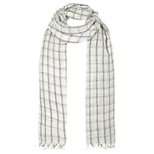 Buy Jigsaw Check Pom Pom Scarf, Black Online at johnlewis.com